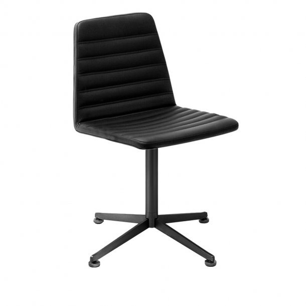 Paustian - Spinal Chair 44, swivel base black | Chanel stitching, Læder