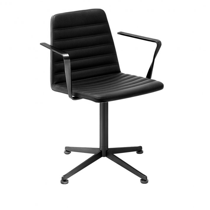 Paustian - Spinal Chair 44, Swivel base black | Chanel stitching, Læder, Armrest