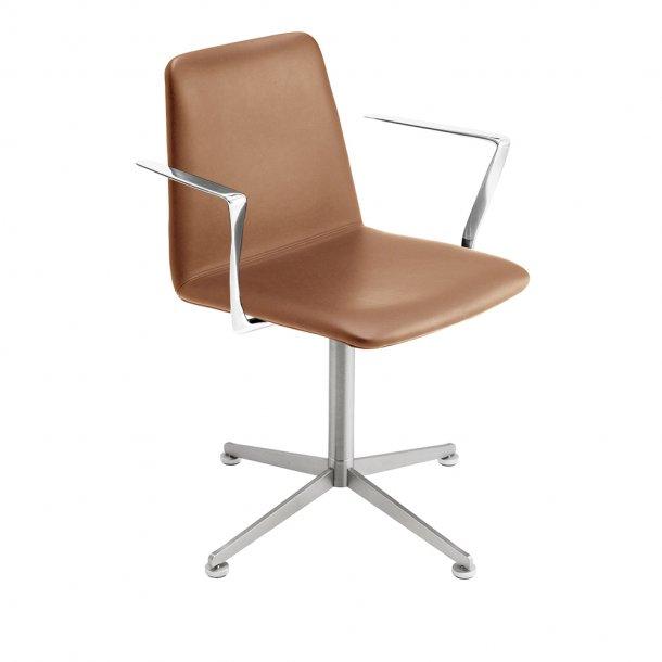 Paustian - Spinal Chair 44, 4-star Swivel chrome - Plain, Læder, Armrest