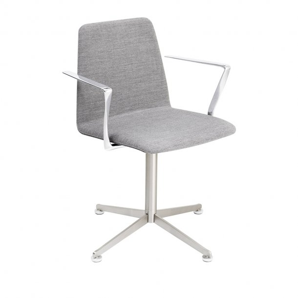 Paustian - Spinal Chair 44, Swivel base chrome | Plain, Tekstil, Armlæn