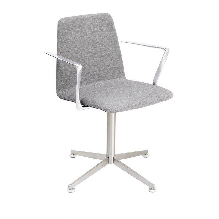 Paustian - Spinal Chair 44, Swivel base chrome | Plain, Tekstil, Armlæn