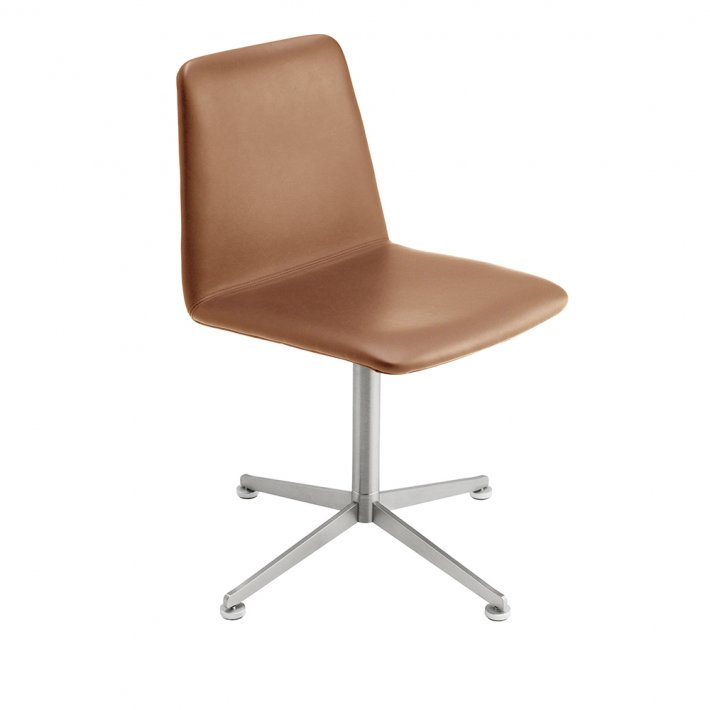 Spinal Chair 44, Swivel base chrome - Plain, Leather