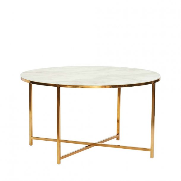 Hübsch - TABLE, METAL/GLASS, WHITE/BRASS - SOFABORD