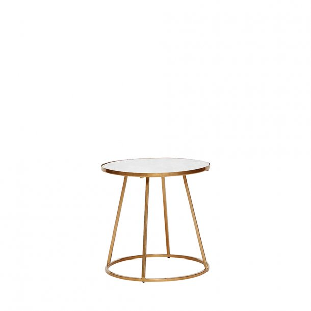 Hübsch - Table w/gold frame, metal/marble, white/gold
