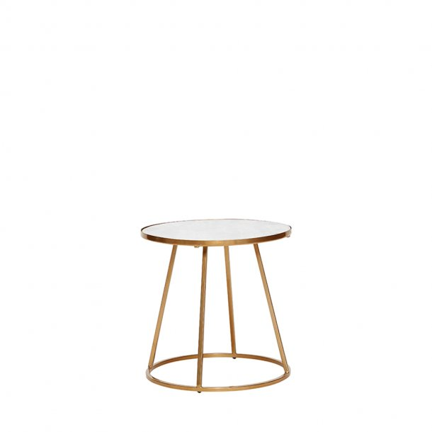 Hübsch - Table w/gold frame, metal/marble, white/gold | sofabord