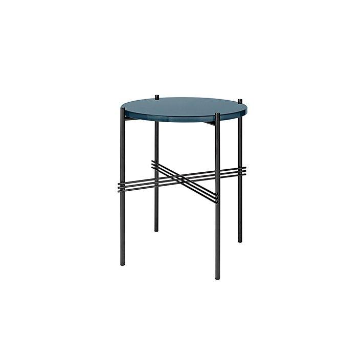 TS Table - Sort stel/Glas - Sofabord Ø40