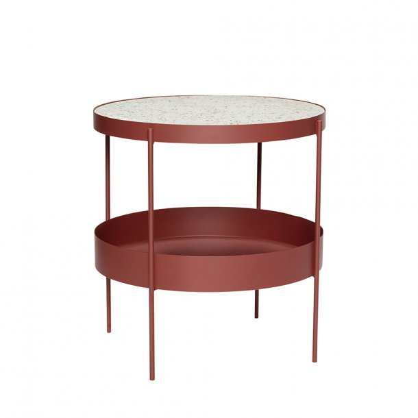 Hübsch - Table, metal/terrazzo, red/white - Sofabord