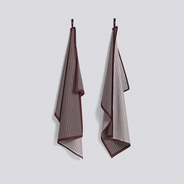 HAY - Tea towel - Grid Bordeaux - 2 stk