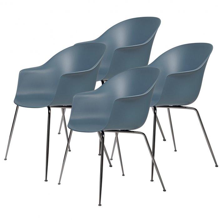 Gubi - Bat Dining Chair | Un-Upholstered | Conic, Black Chrome Base | 4 stk