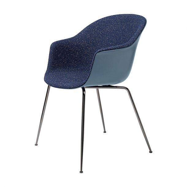 Gubi - Bat Dining Chair | Conic Black Chrome Base | Front Upholstered