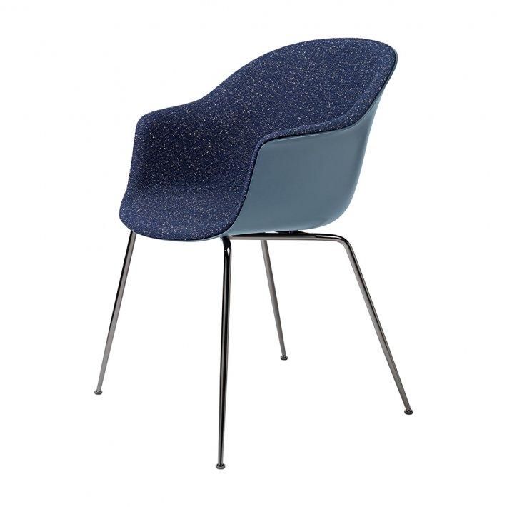 Gubi - Bat Dining Chair   Conic Black Chrome Base   Front Upholstered
