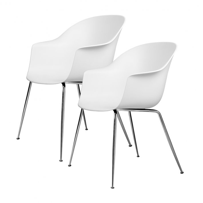 Gubi - Bat Dining Chair | Un-Upholstered | Conic, Chrome Base | 2 stk
