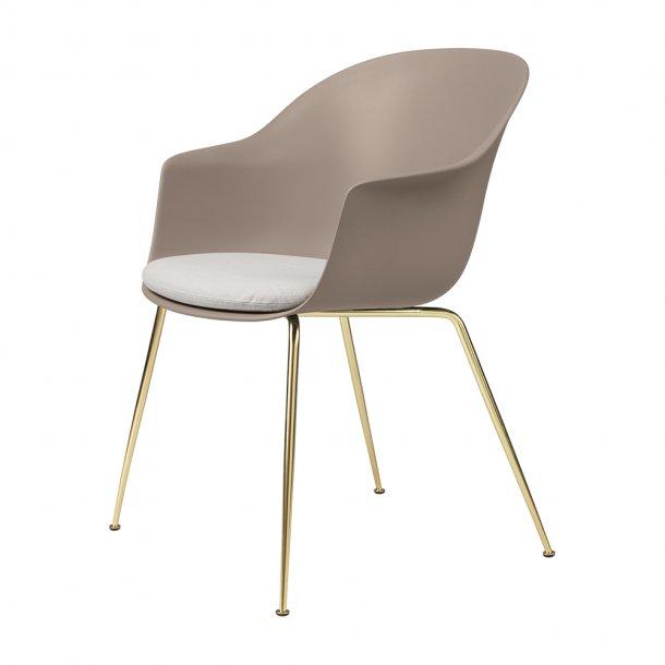 Gubi - Bat Dining Chair   Conic Brass Semi Matt Base   With Cushion