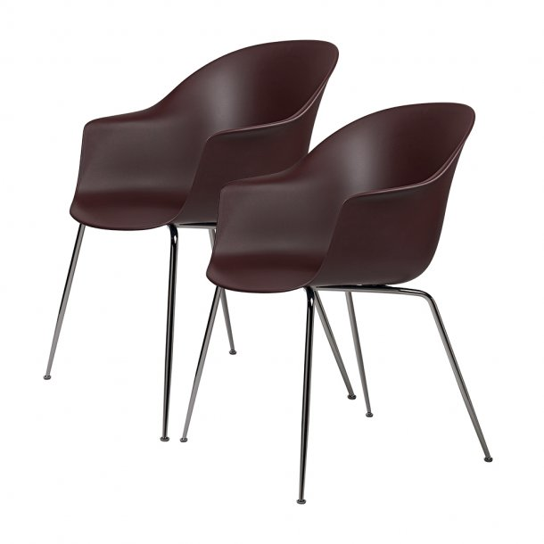 Gubi - Bat Dining Chair   Un-Upholstered   Conic, Black Chrome Base   2 stk