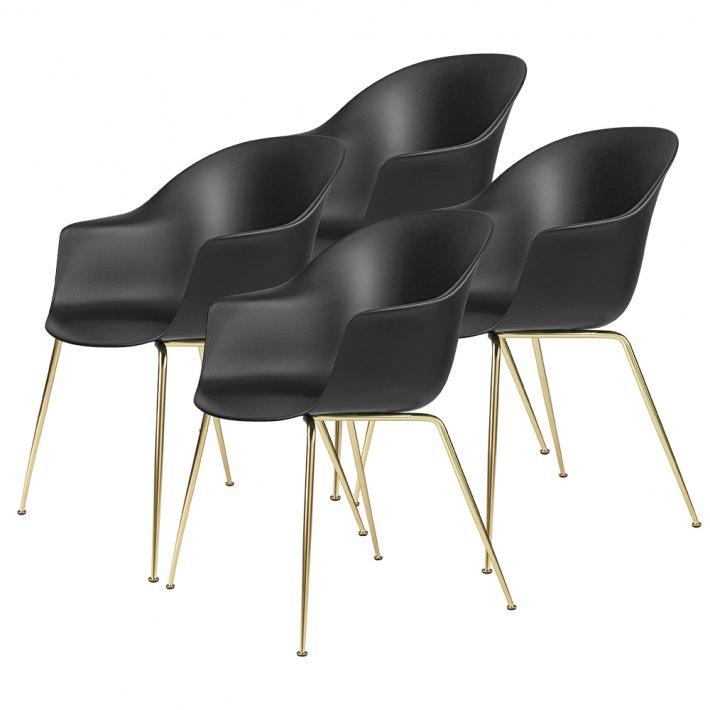 Gubi - Bat Dining Chair | Un-Upholstered | Conic, Brass Semi Matt Base | 4 stk