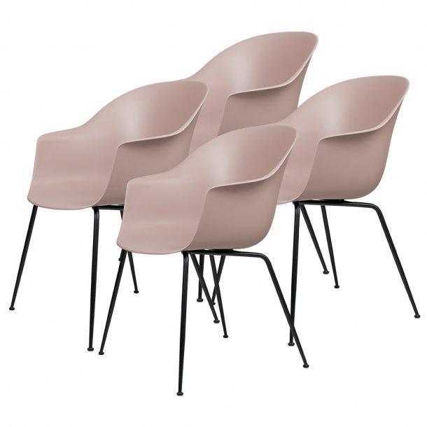 Gubi - Bat Dining Chair | Un-Upholstered | Conic, Black Matt Base | 4 stk