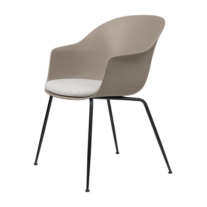 Gubi - Bat Dining Chair   Conic Black Semi Matt Base   With Cushion