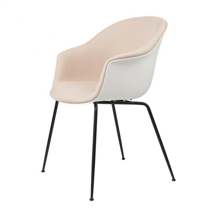 Gubi - Bat Dining Chair | Conic Black Matt Base | Front Upholstered