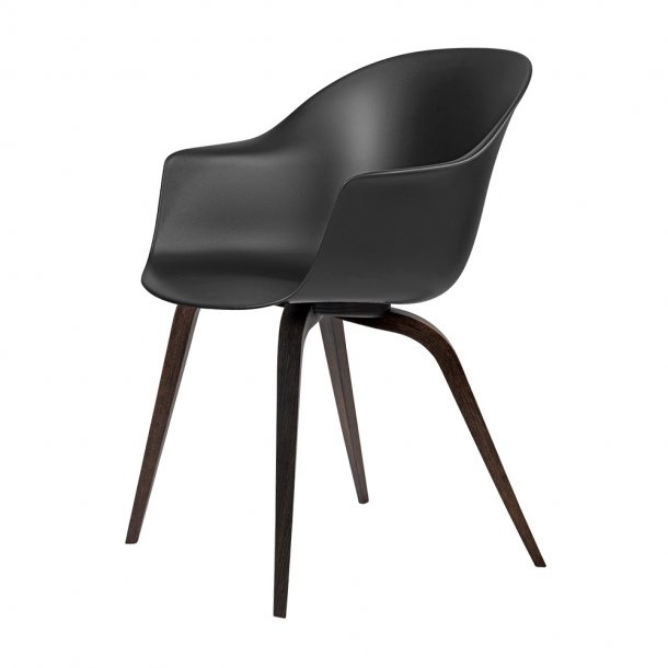 Gubi - Bat Dining Chair | Un-Upholstered | Wood, Smoked Oak Matt Lacquered