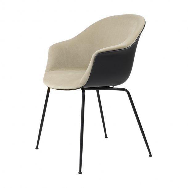 Gubi - Bat Dining Chair   Conic Black Matt Base   Front Upholstered