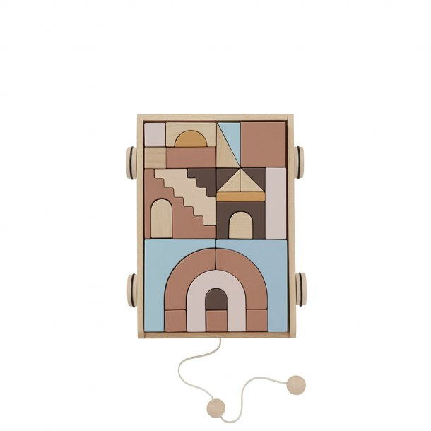 OYOY - Wooden Rainbow Wagon with Blocks