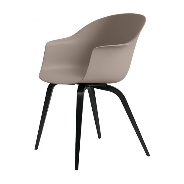 Gubi - Bat Dining Chair | Un-Upholstered | Wood, Black Stained Beech Semi Mat Lacquered Base