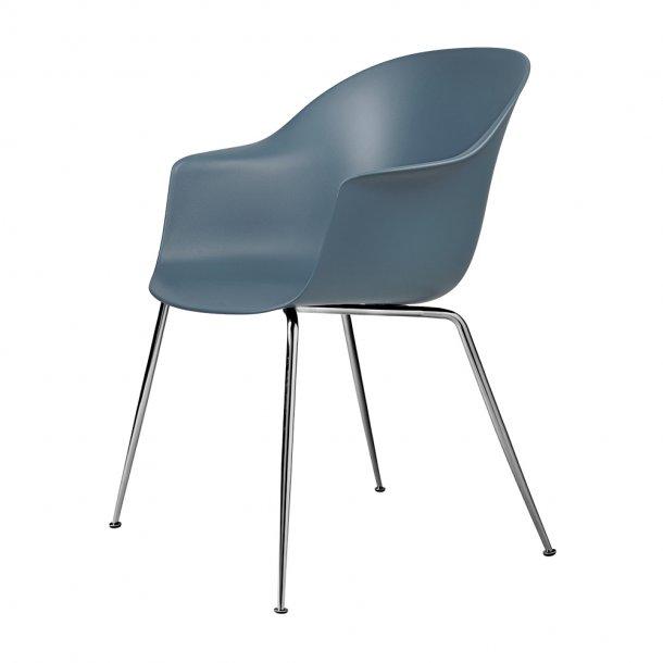 Gubi - Bat Dining Chair   Un-Upholstered   Conic, Chrome Base