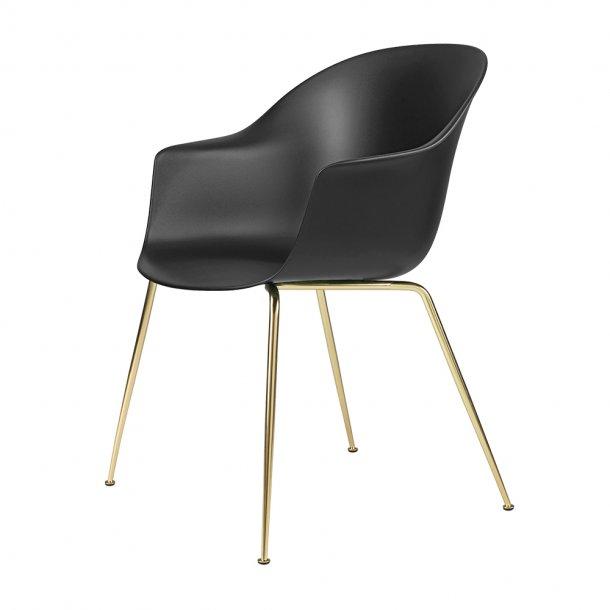 Gubi - Bat Dining Chair   Un-Upholstered   Conic, Brass Semi Matt Base