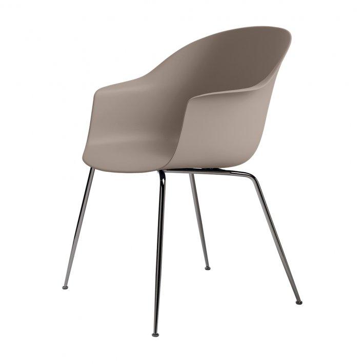 Gubi - Bat Dining Chair | Un-Upholstered | Conic, Black Chrome Base