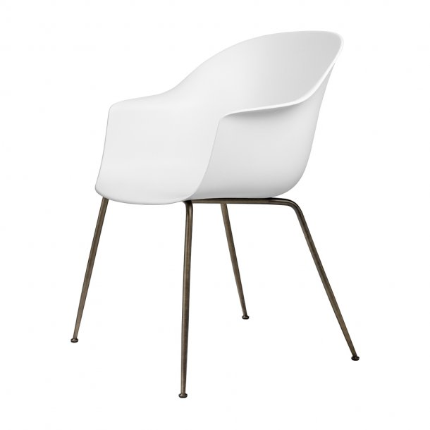 Gubi - Bat Dining Chair | Un-Upholstered | Conic, Antique Brass Base