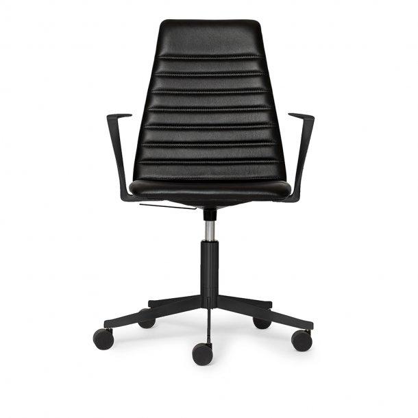 Paustian - Spinal Chair 44, 5-star Base Black w. Castors, High back   Chanel stitching, Læder, Arm.