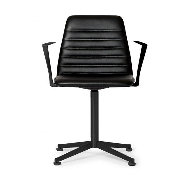 Paustian - Spinal Chair 44, Swivel base black   Channel stitching, Læder, Armrest