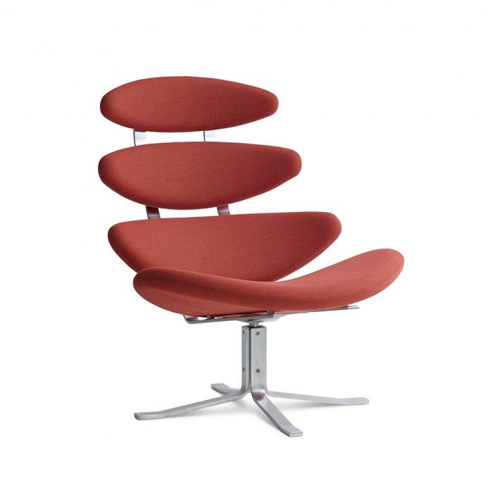 Erik Jørgensen - Corona Swivel Easy chair   X-drejestel Lænestol   Tekstil