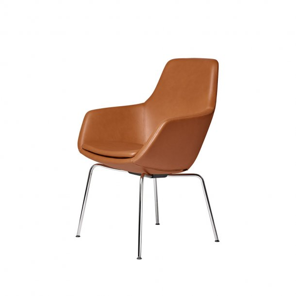 Fritz Hansen - LILLE GIRAF™ stol 3201   Læder, forkromet stel