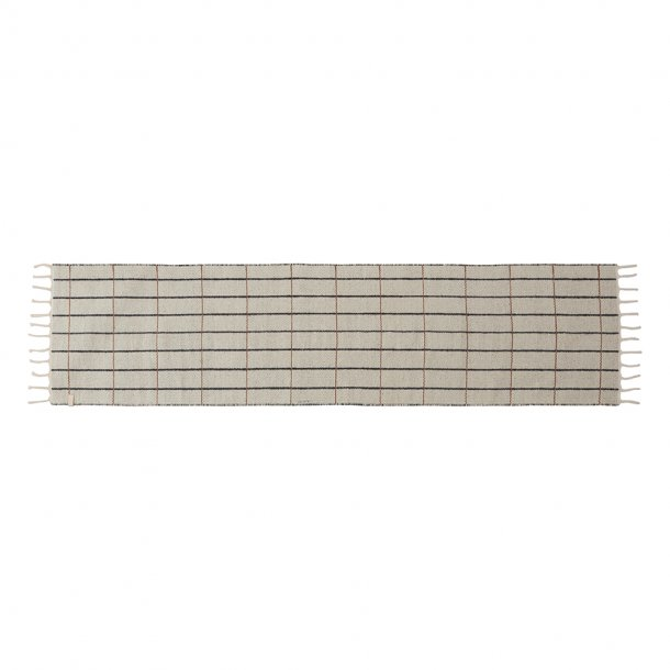 OYOY - Grid rug | Runner | Off white/Anthracite