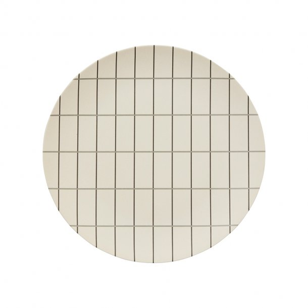 OYOY - Bambus Grid fad - Large - Råhvid/antracit