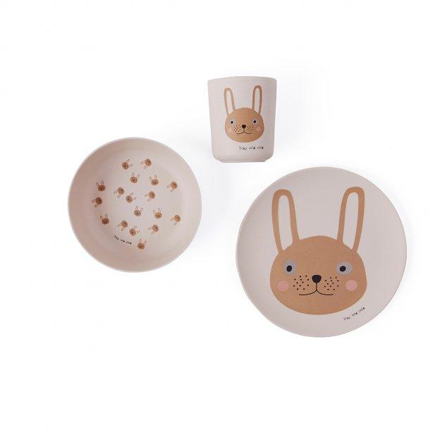 OYOY - Spisesæt Rabbit Bambus | Rosa