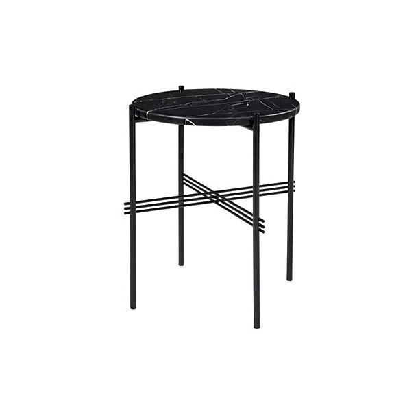 Gubi - TS Table - Sort stel/Marmor - Sofabord Ø40