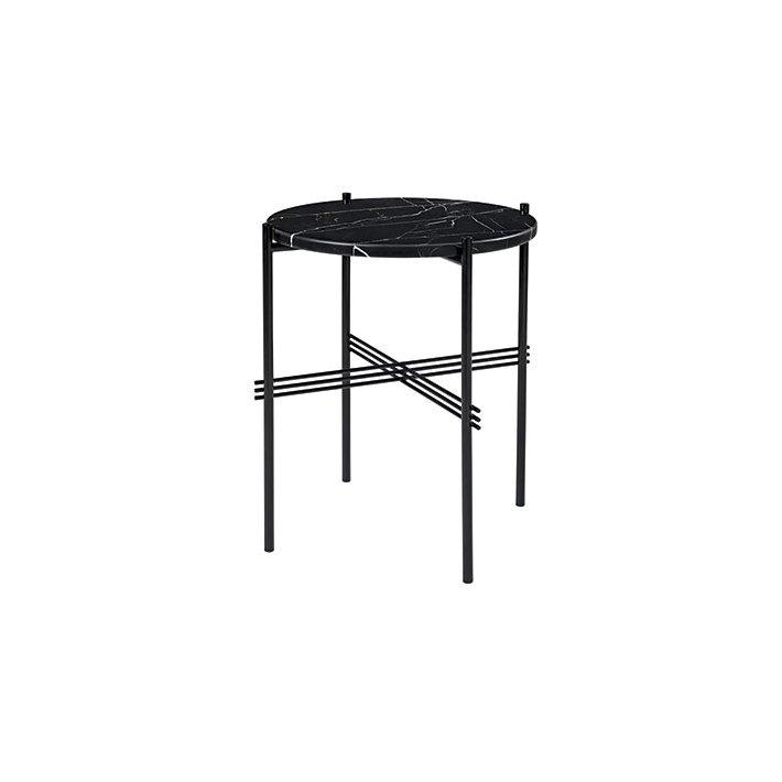 TS Table - Sort stel/Marmor - Sofabord Ø40