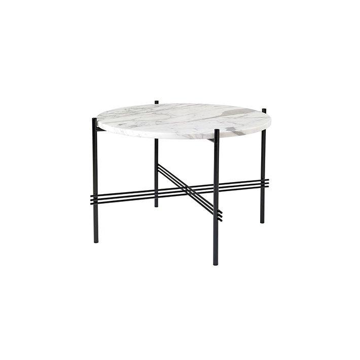 TS Table - Sort stel/Marmor - Sofabord Ø55
