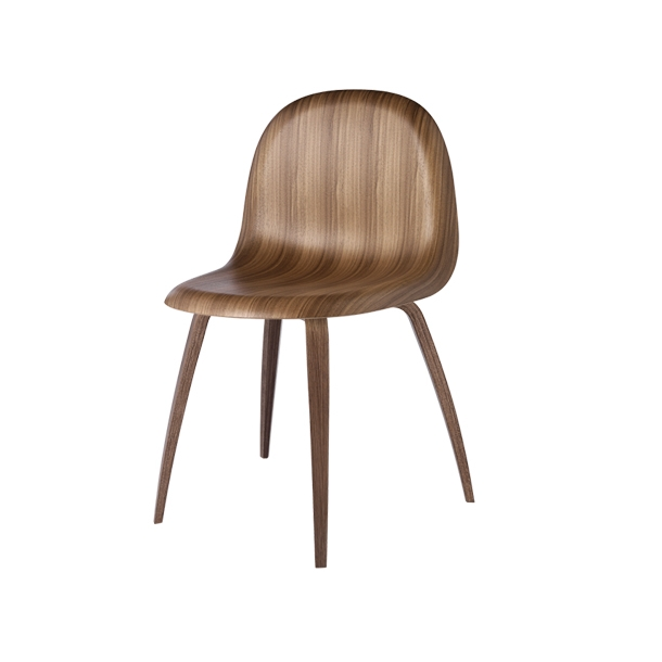 Gubi - 3D Dining Chair Wood Base - Amerikansk valnød - Stol