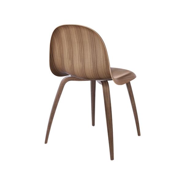 Gubi 3D Dining Chair Wood Base | Amerikansk valnød | Stol